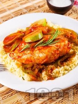 Пилешки гърди със зелечуци и кускус - снимка на рецептата